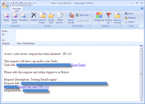 Example of Sent Email